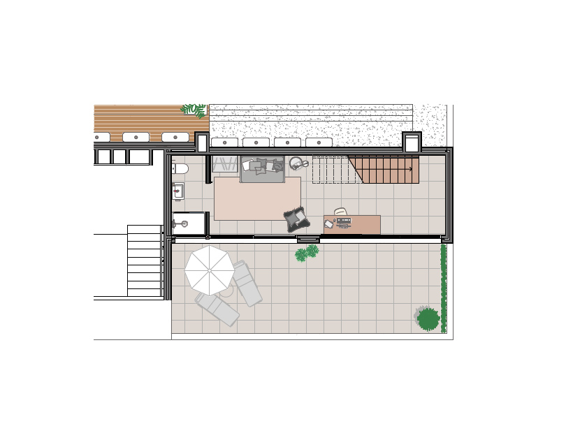 Penthouse, four bedrooms apartment plan